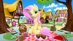 Size: 3840x2160   Tagged: safe, artist:owlpirate, angel bunny, fluttershy, butterfly, pegasus, pony, 3d, book, cloud, cute, female, flower, food, fruit, herbivore, high res, looking at you, male, mare, picnic, plate, ponyville, sandwich, shyabetes, sitting, sky, source filmmaker, tree, veggie sandwich, watermelon