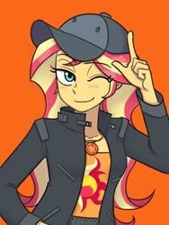 Size: 1620x2160   Tagged: safe, artist:haibaratomoe, sunset shimmer, display of affection, equestria girls, equestria girls series, clothes, cutie mark, cutie mark on clothes, flanksy, geode of empathy, hat, jacket, jewelry, leather, leather jacket, magical geodes, necklace, one eye closed, wink