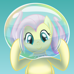 Size: 2500x2497   Tagged: safe, artist:bladedragoon7575, fluttershy, pegasus, pony, air helmet, bubble, bubble helmet, bubble on head, cute, female, fluttershy day, high res, mare, shyabetes, soap bubble, vector