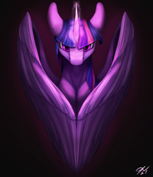 Size: 2160x2500 | Tagged: safe, artist:tenebrisnoctus, twilight sparkle, alicorn, pony, female, glowing horn, high res, horn, looking at you, mare, solo, twilight sparkle (alicorn), wings