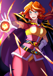 Size: 800x1147 | Tagged: safe, artist:tzc, sunset shimmer, human, belt, blushing, breasts, cape, clothes, cosplay, costume, crossover, female, fire, gloves, humanized, lina inverse, magic, open mouth, pants, slayers, solo, vest