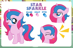 Size: 4000x2661   Tagged: safe, artist:jennieoo, oc, oc only, oc:star sparkle, pony, unicorn, angry, blushing, clothes, dress, female, filly, foal, gala dress, happy, high res, horn, looking at you, one eye closed, puffy cheeks, reference sheet, show accurate, smiling, solo, tongue out, unicorn oc, vector, wink, winking at you