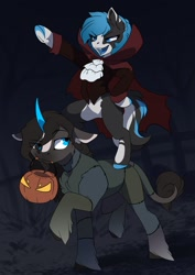 Size: 2481x3507   Tagged: safe, artist:arctic-fox, oc, oc only, oc:blue bell, oc:fúria, earth pony, pony, unicorn, clothes, costume, halloween, halloween costume