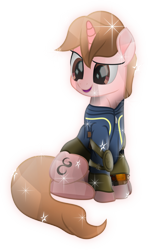 Size: 4041x6788   Tagged: safe, artist:lincolnbrewsterfan, derpibooru exclusive, oc, oc only, oc:calligraphy stroke, crystal pony, pony, unicorn, fallout equestria, my little pony: the movie, .svg available, absurd resolution, background pony oc, barding, brown eyes, brown mane, calligraphy, clothes, crystal pony oc, cute, fallout equestria oc, happy, highlights, horn, inkscape, looking at something, male, movie accurate, neck line, ocbetes, pads, pipbuck, pipbuck 3000, shading, shield, sitting, smiling, sparkles, stallion, stallion oc, svg, unicorn oc, vault suit, vector