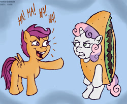 Size: 1460x1200 | Tagged: safe, artist:scobionicle99, scootaloo, sweetie belle, pegasus, pony, unicorn, clothes, costume, female, filly, food, gritted teeth, laughing, pointing, pun, sweetie belle is not amused, taco, taco belle, teasing, unamused, visual pun