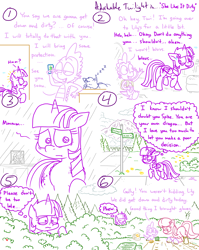 Size: 4779x6013 | Tagged: safe, artist:adorkabletwilightandfriends, lily, lily valley, spike, twilight sparkle, oc, oc:pinenut, alicorn, cat, comic:adorkable twilight and friends, absurd resolution, adorkable, adorkable twilight, boots, bush, cellphone, clothes, comic, cute, dork, everything went better than expected, family, friendship, garden, gardening, gloves, hiding, humor, innuendo, lilyspike, love, mountain, nature, neighborhood, nervous, phone, relationship, relationships, relieved, road, road sign, scenery, seeds, shoes, shovel, sidewalk, sign, sleeping, slice of life, smartphone, sneaking, twilight sparkle (alicorn), worried, wuvs
