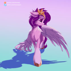 Size: 2048x2048 | Tagged: safe, artist:foxnose, pipp petals, pegasus, pony, g5, adorapipp, chest fluff, cute, ear fluff, female, floppy ears, gradient background, grooming, high res, hoof fluff, licking, mare, meta, patreon, patreon logo, preening, shadow, simple background, solo, tongue out, unshorn fetlocks, wings
