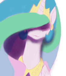 Size: 1536x1751 | Tagged: safe, artist:nonamenymous, princess celestia, alicorn, pony, adoracreepy, creepy, cute, eyeshadow, lip bite, looking at you, makeup, solo, yandere