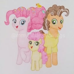Size: 965x964 | Tagged: safe, artist:mmy_little_drawings, cheese sandwich, li'l cheese, pinkie pie, earth pony, pony, the last problem, cheesepie, clothes, colt, eyelashes, eyes closed, father and child, father and son, female, male, mare, mother and child, mother and son, open mouth, raised hoof, shipping, stallion, straight, traditional art, watermark