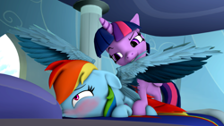 Size: 3840x2160 | Tagged: safe, alternate version, artist:mr.tektite, rainbow dash, twilight sparkle, alicorn, pegasus, pony, 3d, blushing, feather, female, grooming, lesbian, preening, shipping, source filmmaker, twidash, twilight sparkle (alicorn)
