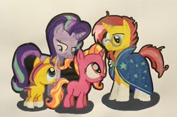 Size: 2962x1951 | Tagged: safe, artist:magicnova, derpibooru exclusive, luster dawn, starlight glimmer, sunburst, oc, oc:starfire blaze, pony, unicorn, blaze (coat marking), brother and sister, cloak, clothes, coat markings, colt, facial markings, father and child, father and daughter, father and son, female, filly, filly luster dawn, glasses, like father like daughter, like father like son, like mother like daughter, like mother like son, like parent like child, luster dawn is starlight's and sunburst's daughter, male, mare, mother and child, mother and daughter, mother and son, offspring, parent:starlight glimmer, parent:sunburst, parents:starburst, robe, shipping, siblings, simple background, socks (coat markings), stallion, starburst, straight, sunburst's cloak, sunburst's glasses, traditional art, white background, young, younger