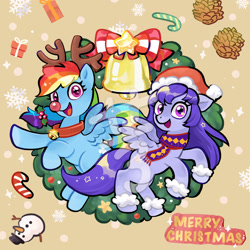 Size: 2362x2362 | Tagged: safe, artist:tingyo, rainbow dash, oc, pegasus, pony, bell, bell collar, bow, candy, candy cane, canon x oc, christmas, clothes, collar, fake antlers, female, food, hat, holiday, holly, mare, merry christmas, obtrusive watermark, oc needed, pinecone, present, red nosed reindeer, reindeer dash, rudolph dash, santa hat, scarf, smiling, snow, snowflake, snowman, watermark, wreath