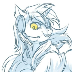 Size: 640x640   Tagged: safe, artist:swaybat, oc, oc only, oc:otakulight, pony, unicorn, clothes, female, headphones, hoodie, monochrome, solo