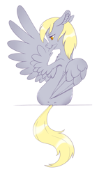 Size: 2169x3575 | Tagged: safe, artist:taytinabelle, derpy hooves, pegasus, pony, back dimples, both cutie marks, butt, dimples of venus, dock, ear fluff, female, floppy ears, grooming, lidded eyes, mare, preening, rear view, simple background, solo, spread wings, white background, wings