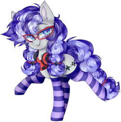 Size: 3681x3710 | Tagged: safe, artist:_spacemonkeyz_, oc, oc only, oc:cinnabyte, earth pony, bandana, clothes, glasses, headset, simple background, socks, solo, stockings, striped socks, thigh highs, transparent background
