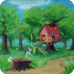 Size: 1000x999 | Tagged: safe, artist:sa1ntmax, apple bloom, scootaloo, sweetie belle, earth pony, pegasus, pony, unicorn, clubhouse, crusaders clubhouse, cutie mark crusaders, female, filly, flower, traditional art, tree, tree stump, treehouse, wrong coat color, wrong mane color