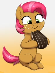 Size: 898x1200 | Tagged: safe, artist:heretichesh, babs seed, earth pony, pony, adorababs, cute, eating, female, filly, food, freckles, herbivore, puffy cheeks, smiling, solo, sunflower seeds