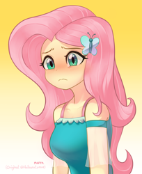 Size: 1622x1983   Tagged: safe, artist:haibaratomoe, artist:maren, fluttershy, butterfly, human, equestria girls, equestria girls series, beautiful, blushing, breasts, busty fluttershy, butterfly hairpin, clothes, cute, dress, eyeshadow, female, frown, hairpin, makeup, redraw, shyabetes, simple background, sleeveless, solo, teal eyes, yellow background