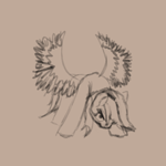 Size: 2048x2048 | Tagged: safe, artist:gangrene, rainbow dash, pegasus, pony, angry, head down, high res, monochrome, sketch, solo, spread wings, wings