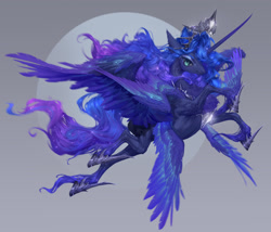 Size: 2048x1755   Tagged: safe, artist:makkah, artist:mmgrace, princess luna, alicorn, pony, crown, female, hoof shoes, jewelry, mare, moon, multiple wings, redesign, regalia, solo, wings