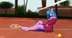 Size: 4000x2116 | Tagged: safe, artist:alicorn-without-horn, izzy moonbow, unicorn, anthro, unguligrade anthro, g5, ball, breasts, cleavage, clothes, dress, female, looking at you, net, sitting, solo, tennis ball, tennis court, tennis racket, tree