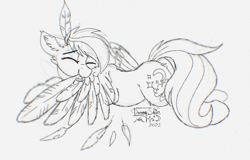 Size: 1761x1126 | Tagged: safe, artist:dreamyskies, oc, oc only, oc:dreamer skies, pegasus, pony, april fools 2021, april fools joke, ear fluff, event, eyebrows visible through hair, eyes closed, feather, floppy ears, grayscale, grooming, happy, lying down, male, monochrome, pegasus oc, preening, quick sketch, rough sketch, simple background, sketch, smiling, solo, spread wings, stallion, white background, wings, wip