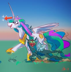 Size: 3452x3476   Tagged: safe, artist:alumx, princess celestia, queen chrysalis, alicorn, changeling, changeling queen, pony, blushing, blushing profusely, chryslestia, dragging, female, lesbian, mare, shipping