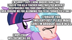 Size: 1280x720   Tagged: artist needed, safe, cozy glow, twilight sparkle, alicorn, pegasus, pony, g5, a better ending for cozy, caption, female, filly, forgiveness, good end, hug, image macro, love, op can't let go, op has an opinion, redemption, simple background, text, white background