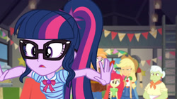 Size: 3410x1920   Tagged: safe, screencap, apple bloom, applejack, big macintosh, granny smith, sci-twi, twilight sparkle, equestria girls, equestria girls series, holidays unwrapped, the cider louse fools, spoiler:eqg series (season 2), apple bloom's bow, applejack is not amused, applejack's hat, belt, bow, bowtie, clothes, cowboy hat, cutie mark, cutie mark on clothes, denim skirt, female, geode of super strength, geode of telekinesis, glasses, hair bow, hat, jewelry, magical geodes, male, necklace, ponytail, skirt, unamused