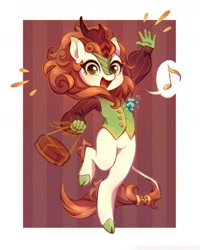 Size: 1440x1800 | Tagged: safe, artist:smthngjay, autumn blaze, kirin, anthro, unguligrade anthro, awwtumn blaze, clothes, cute, female, happy, looking at you, open mouth, smiling, smiling at you, solo, waistcoat, waving, waving at you