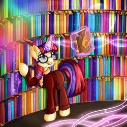 Size: 1280x1280 | Tagged: safe, artist:appleneedle, moondancer, pony, unicorn, art, book, bookshelf, character, clothes, costume, digital, draw, drawing, fanart, glasses, library, magic, paint, painting, rainbow, solo