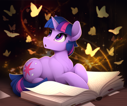 Size: 2500x2100 | Tagged: safe, artist:yakovlev-vad, twilight sparkle, butterfly, pony, unicorn, book, cute, looking at each other, lying down, magic, magic book, open mouth, prone, solo, that pony sure does love books, twiabetes, unicorn twilight