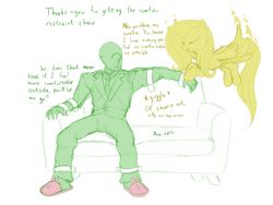 Size: 2048x1536 | Tagged: safe, artist:nonamenymous, fluttershy, oc, oc:anon, human, pegasus, pony, bindings, bondage, bunny slippers, clothes, couch, duo, flutterrape, limited palette, simple background, slippers, tied up, white background, yandere, yandereshy