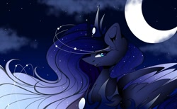 Size: 1080x667 | Tagged: safe, alternate version, artist:tessa_key_, princess luna, alicorn, pony, bust, cloud, colored, constellation, crescent moon, ear fluff, eyelashes, female, horn, jewelry, lipstick, mare, moon, night, outdoors, peytral, smiling, solo, stars, tiara, wings