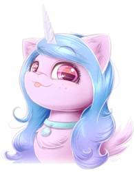 Size: 1155x1473 | Tagged: safe, artist:phoenixrk49, izzy moonbow, cat, unicorn, g5, :p, bust, catified, chest fluff, collar, cute, ear fluff, female, horn, izzybetes, looking at you, pet tag, portrait, simple background, solo, species swap, tongue out, white background