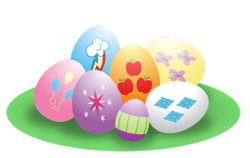 Size: 1600x1012 | Tagged: safe, artist:aleximusprime, applejack, fluttershy, pinkie pie, rainbow dash, rarity, spike, twilight sparkle, easter, easter egg, egg, holiday, mane seven, mane six, simple background, transparent background