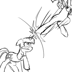 Size: 1920x1920   Tagged: safe, artist:melonmilk, derpibooru exclusive, rainbow dash, twilight sparkle, pegasus, pony, unicorn, fighting is magic, duel, fight, force field, high kick, kick, show accurate, sketch, spell, wip