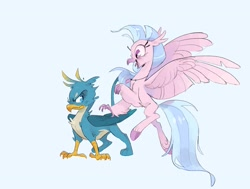 Size: 3055x2308 | Tagged: safe, artist:frozenspots, gallus, silverstream, griffon, hippogriff, blue background, colored hooves, duo, excited, female, gallus is not amused, grumpy, happy, jewelry, male, necklace, simple background, spread wings, tongue out, unamused, wings