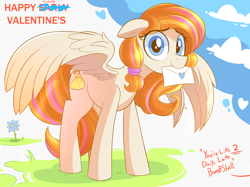 Size: 2874x2149   Tagged: safe, artist:nignogs, oc, oc only, oc:bombshell, pegasus, pony, female, holiday, late, looking at you, love letter, mare, mouth hold, offscreen character, solo, spread wings, valentine's day, wings