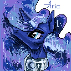 Size: 1024x1024 | Tagged: safe, artist:ariamidnighters, artist:midnighters_forever, princess luna, alicorn, pony, bust, pixel art, solo