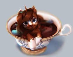 Size: 864x686 | Tagged: safe, artist:drdepper, oc, oc only, pony, unicorn, cup, cup of pony, looking at you, micro, smiling, solo, teacup