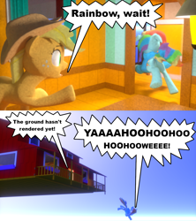 Size: 1280x1440 | Tagged: safe, artist:edward256, applejack, rainbow dash, fanfic:cupcake chronicles, 2 panel comic, 3d, animation error, blender, blender cycles, clothes, comic, falling, goofy holler, hoodie, not sfm, running, wingless, wingless rainbow dash, wonderbolt hoodie, yelling
