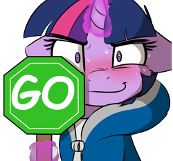 Size: 1222x1138 | Tagged: safe, artist:captainpudgemuffin, edit, twilight sparkle, pony, blushing, clothes, female, floppy ears, hoodie, levitation, looking at you, magic, mare, octagon, sans (undertale), simple background, smiling, solo, sweat, telekinesis, undertale, white background, wide eyes