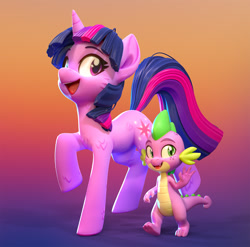 Size: 1310x1296 | Tagged: safe, artist:lemurfeature, spike, twilight sparkle, dragon, pony, unicorn, 3d, 3d model, cheek fluff, cute, duo, fangs, female, fluffy, freckles, gradient background, happy, leg fluff, male, mare, open mouth, size difference, smiling, unicorn twilight, waving, zbrush
