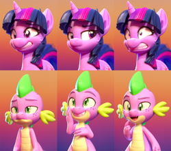 Size: 1577x1391 | Tagged: safe, artist:lemurfeature, spike, twilight sparkle, dragon, pony, unicorn, 3d, duo, expressions, fangs, female, fluffy, freckles, gradient background, grin, male, mare, nervous, nervous grin, open mouth, raised eyebrow, shrunken pupils, smiling, unamused, unicorn twilight, zbrush