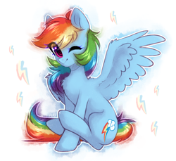 Size: 1804x1656 | Tagged: safe, artist:avrameow, rainbow dash, pegasus, pony, chest fluff, cute, dashabetes, eye clipping through hair, female, looking at you, mare, one eye closed, sitting, smiling, smiling at you, solo, wink