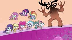 Size: 1920x1080 | Tagged: safe, screencap, applejack, bighoof, echo (pony life), fluttershy, lightning chill, pinkie pie, rainbow dash, rarity, sugar snap, twilight sparkle, alicorn, bat, big cat, bird, earth pony, peacock, pegasus, pony, tiger, unicorn, magical mare-story tour, my little pony: pony life, pony life, spoiler:pony life s02e13, female, mane six, mare, monster, mt. volcanope, wild siders