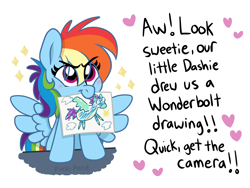 Size: 1500x1125   Tagged: safe, artist:pink-pone, rainbow dash, pegasus, pony, blushing, cute, dashabetes, dialogue, female, filly, filly rainbow dash, implied windy whistles, mouth hold, offscreen character, simple background, solo, white background, wonderbolts, younger