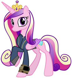 Size: 1280x1390   Tagged: safe, artist:andoanimalia, artist:ponygamer2020, princess cadance, alicorn, pony, fallout equestria, beautiful, clothes, crown, fallout, female, jewelry, jumpsuit, mare, pipboy, pretty, raised hoof, regalia, simple background, smiling, solo, transparent background, vault suit, vector