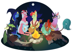 Size: 2700x2000 | Tagged: safe, alternate version, artist:theartfox2468, oc, oc only, oc:cocoa berry, oc:halcyon halfnote, oc:larynx (changeling), oc:lobelya, oc:wild goosechase, unnamed oc, changedling, changeling, dragon, earth pony, kirin, pegasus, pony, unicorn, armor, bandage, bandana, bard, boots, camp, campfire, changedling oc, changeling oc, clothes, dnd, dragon oc, dungeons and dragons, eyes closed, fantasy class, female, food, freckles, gloves, glowing horn, grin, guitar, hat, healer, helmet, hoof shoes, horn, kirin oc, knee pads, levitation, log, lying down, magic, male, mare, marshmallow, multicolored hair, musical instrument, night, nonbinary, open mouth, pants, pen and paper rpg, prone, robe, rock, rpg, shield, shirt, shoes, singing, sitting, sky, smiling, stars, stick, telekinesis, tree, vest, wall of tags, wizard, wizard hat, wood